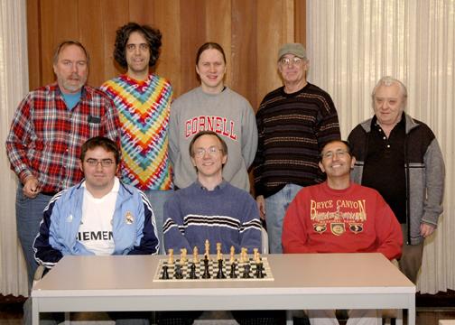 Participants in the 2005 Santa Cruz Cup. Front: Juande Perea, Dana Mackenzie, Ilan Benjamin. Back: Eric Fingal, Ken Seehart, Jeff Mallett, Gary Roe, Jim Parker